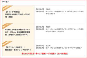源ちゃんで使える!食べログ掲載クーポン情報!(サンプル画像)