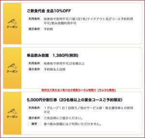 酔虎伝で使える!食べログ掲載クーポン情報!(サンプル画像)