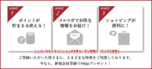 ニッコーのオンラインショップ会員クーポン情報!(サンプル画像)