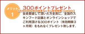 SKIN FOOD WEB会員クーポン配信情報【sample】